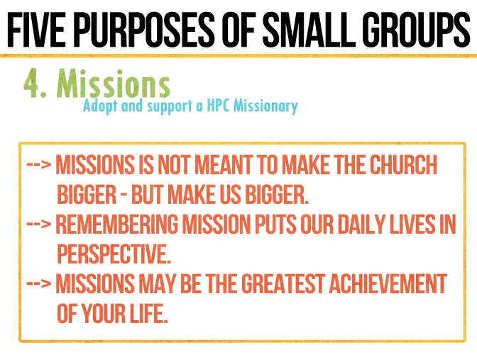 Five Purposes and Practices of Small Groups: 4. MISSIONS
