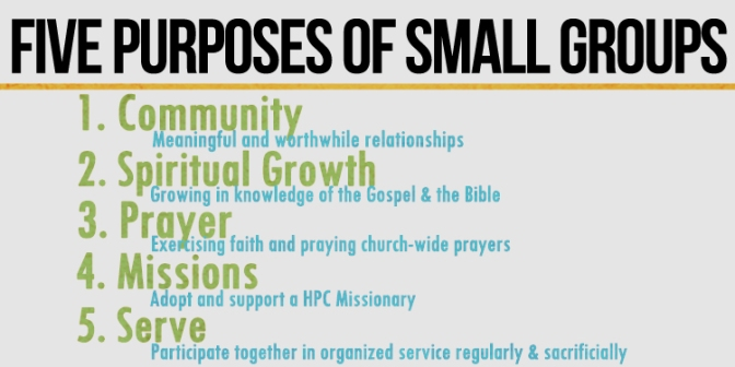 Five Purposes & Practices of Small Groups: 1. COMMUNITY